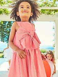 Girls-Dresses-Striped Occasion Wear Dress with Pretty Bow, for Girls