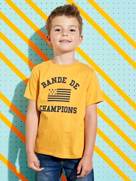 T-Shirt with 'Bande de Champions' Motif for Boys BLUE DARK SOLID WITH DESIGN+ORANGE MEDIUM SOLID