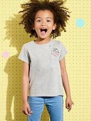 Girls-Tops-T-Shirt for Girls with Sequinned Cupcake Motif