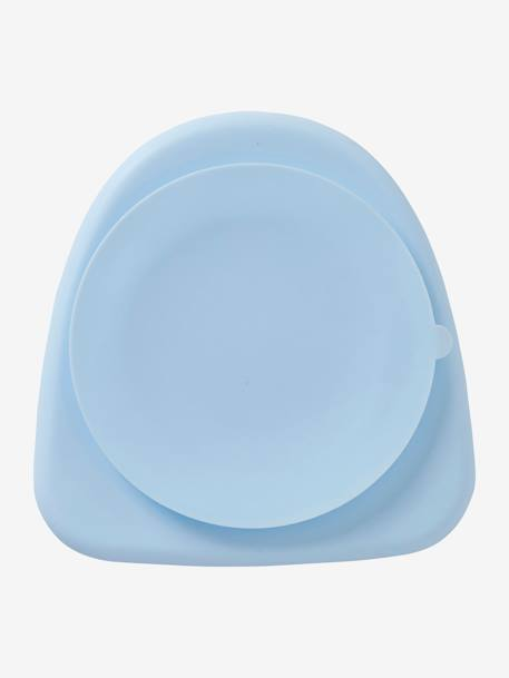 Plate in Silicone for Children BLUE LIGHT SOLID+PINK LIGHT SOLID