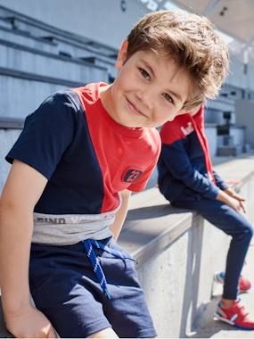 Colour Block Sports T Shirt For Boys Blue Dark Solid With Design