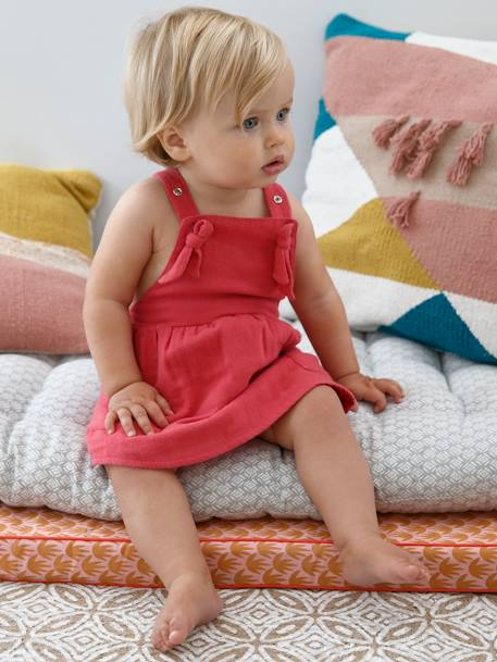 Dress with Straps for Baby Girls PINK DARK SOLID