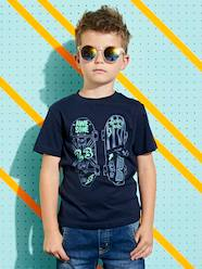 Boys-Tops-T-Shirt with Skateboard Motif in Relief for Boys