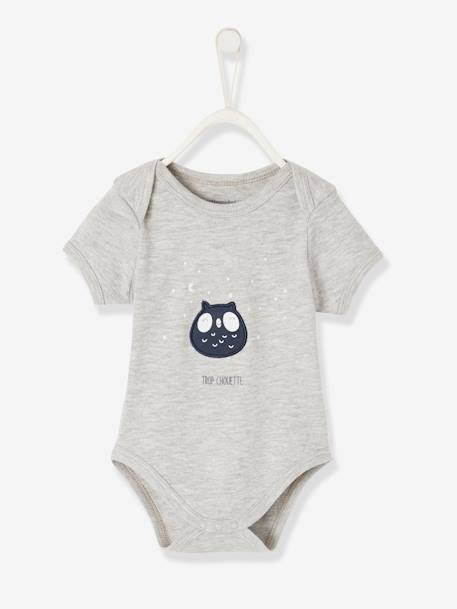 Short-Sleeved Bodysuit for Babies in Pure Cotton GREY LIGHT MIXED COLOR+WHITE LIGHT SOLID WITH DESIGN