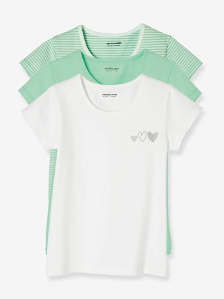 Pack of 3 Short-Sleeved Stretch T-Shirts for Girls BLUE MEDIUM TWO COLOR/MULTICOL+GREEN LIGHT SOLID