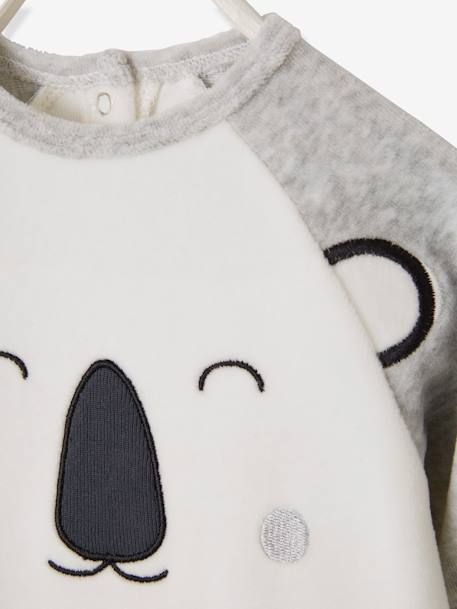 Babies' Velour Pyjamas, Press-studs on the Back GREY LIGHT MIXED COLOR