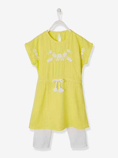 Embroidered Dress + Leggings Outfit for Girls PINK LIGHT SOLID WITH DESIGN+WHITE LIGHT SOLID WITH DESIGN+YELLOW LIGHT SOLID WITH DESIGN