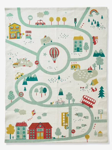 Mat, Joliville Road Map WHITE LIGHT SOLID WITH DESIGN