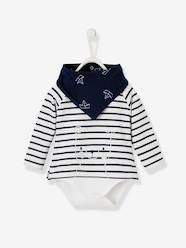Baby-T-shirts & Roll Neck T-Shirts-Striped Bodysuit Top & Bib with Motif, for Baby Boys