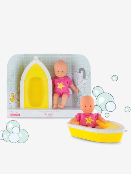 Corolle Plouf Mini Bath Baby Doll YELLOW BRIGHT SOLID WTH DESIGN