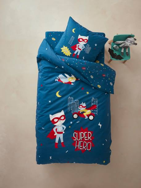 Children's Duvet Cover + Pillowcase Set, Super Cat Theme BLUE MEDIUM SOLID WITH DESIGN
