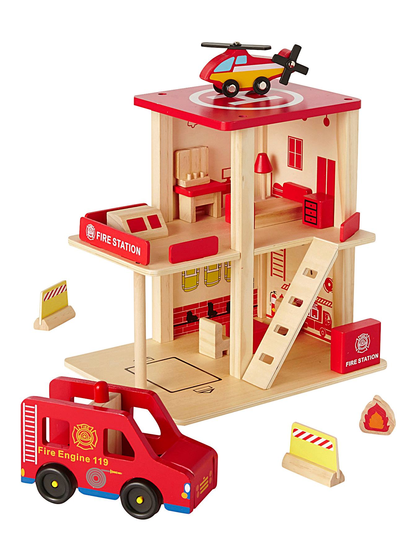 Wooden Fire Station Accessories Red Medium Solid With Desig Toys Vertbaudet