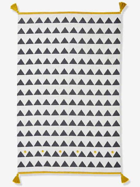Rug with Tassels & Triangles WHITE LIGHT SOLID WITH DESIGN