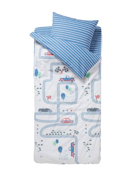 Ready-for-Bed with Duvet, Racing Track Theme: 4-Piece Set BLUE LIGHT TWO COLOR/MULTICOL