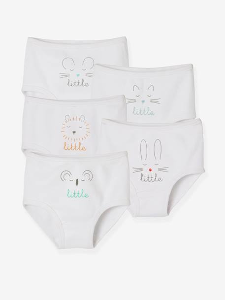 Pack of 5 Baby Pure Cotton Underwear, Designed for Nappies WHITE LIGHT SOLID WITH DESIGN