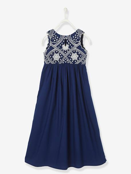 Sleeveless Long Dress, Embroidered BLUE DARK SOLID WITH DESIGN+WHITE LIGHT SOLID WITH DESIGN