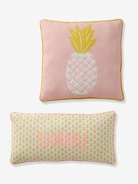 Image of 2 Cushions with Pineapple pink light solid with design