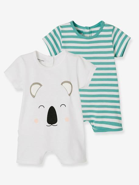 Babies' Pack of 2 Short Pyjamas, Cotton BLUE LIGHT TWO COLOR/MULTICOL+WHITE LIGHT TWO COLOR/MULTICOL