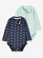 Baby-T-shirts & Roll Neck T-Shirts-Set of 2 Bodysuits with Collar for Babies
