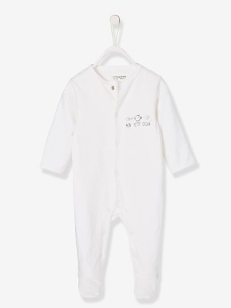 Unisex Sleepsuit for Newborn Babies in Cotton WHITE LIGHT SOLID WITH DESIGN