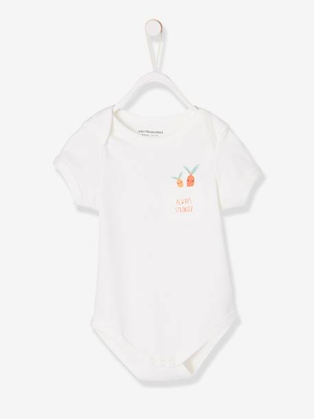 Short-Sleeved Bodysuit for Babies in Pure Cotton PINK LIGHT MIXED COLOR+WHITE LIGHT MIXED COLOR