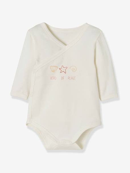 Pack of 2 Stretch Cotton Bodysuits for Newborns, Fish in Water GREY LIGHT TWO COLOR/MULTICOL+PINK LIGHT 2 COLOR/MULTICOL R+WHITE LIGHT TWO COLOR/MULTICOL