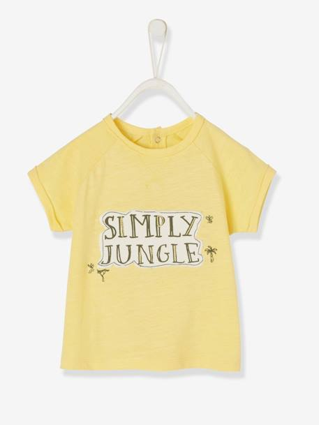 T-Shirt with Embroidered Appliqué, for Baby Boys YELLOW LIGHT SOLID WITH DESIGN