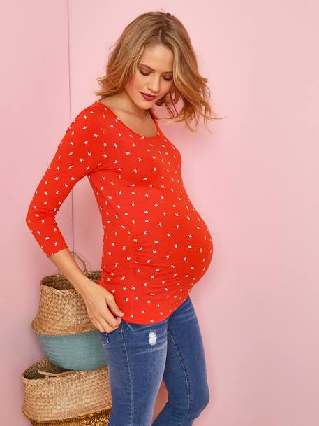 Maternity Jersey Knit Top, 3/4 Sleeves ORANGE BRIGHT ALL OVER PRINTED