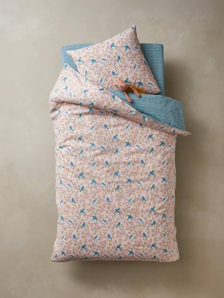 Duvet Cover + Pillowcase Set, STARLINGS Theme PINK LIGHT ALL OVER PRINTED