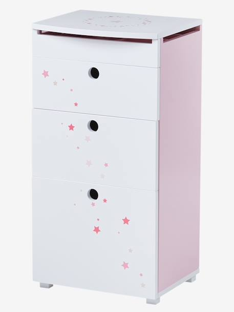 Storage Unit with Compartment for Jewellery & Mirror, Magic Theme WHITE LIGHT SOLID WITH DESIGN
