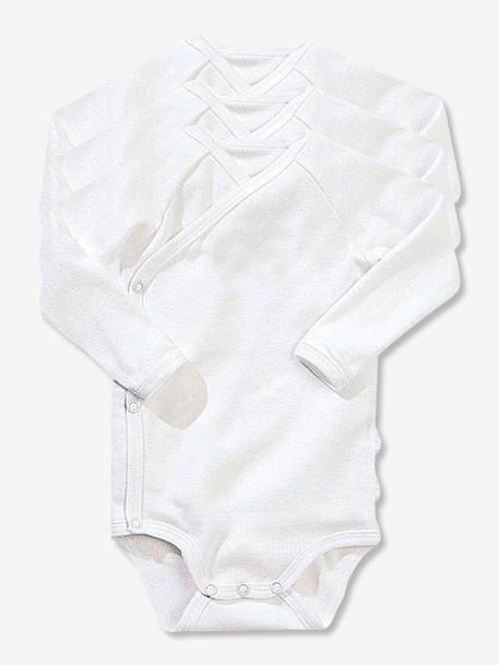Newborn Baby Pack of 3 Long-Sleeved White Bodysuits in Pure Cotton White pack