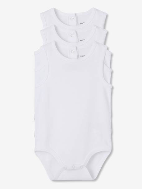 Baby Pack of 3 Pure Cotton White Bodysuits with Straps White