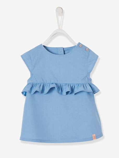 Blouse with Ruffles on the Front, for Baby Girls BLUE MEDIUM SOLID