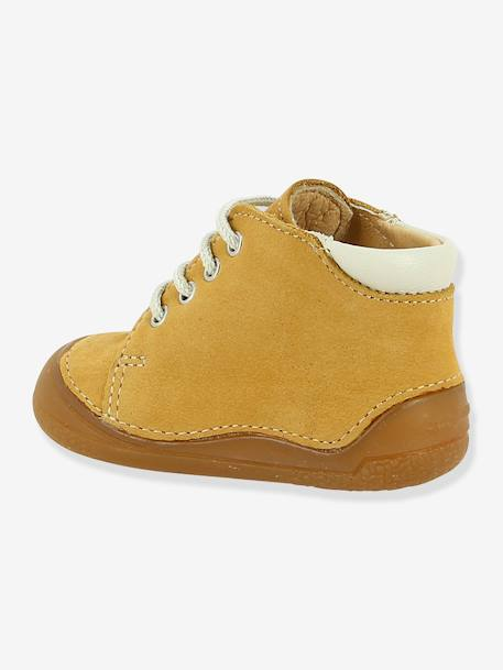 Lace-Up Leather Ankle Boots for Baby Boys, B1 by Babybotte® BEIGE MEDIUM SOLID+BLUE LIGHT SOLID