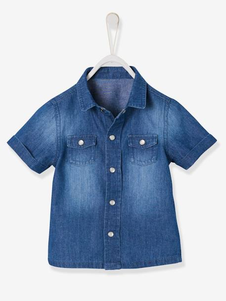 Short-Sleeved Denim Shirt for Baby Boys BLUE DARK WASCHED