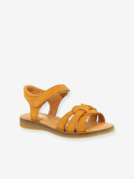 Leather Sandals for Girls, Krikri by Babybotte® BEIGE MEDIUM SOLID+WHITE LIGHT SOLID