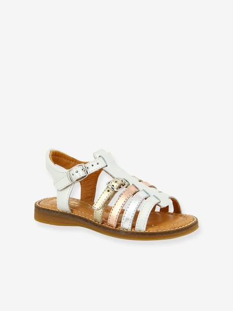 Leather Sandals for Girls, Katz by Babybotte® WHITE LIGHT SOLID