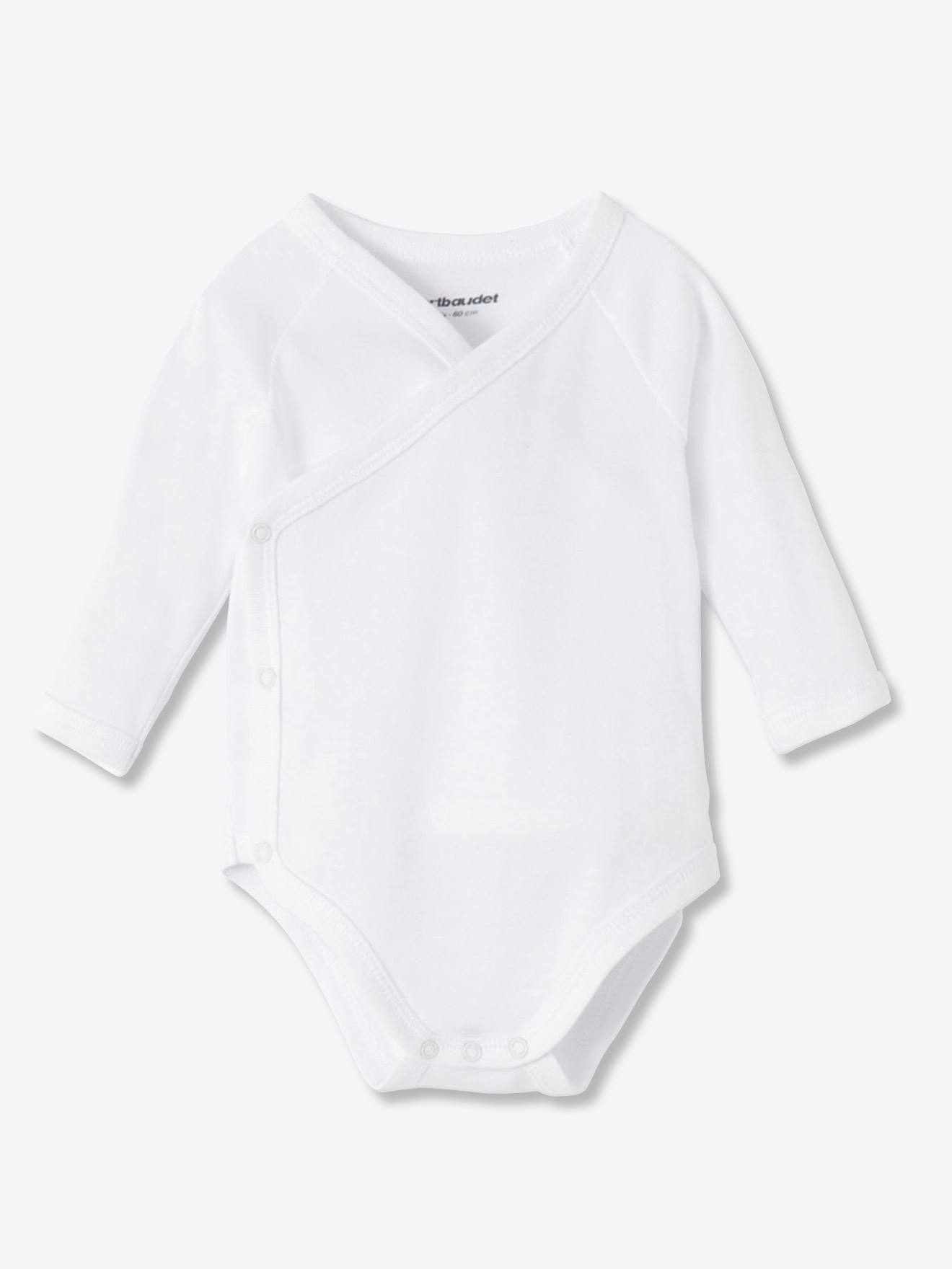 Newborn Baby Pack of 6 Long-Sleeved White Bodysuits in Pure Cotton - white