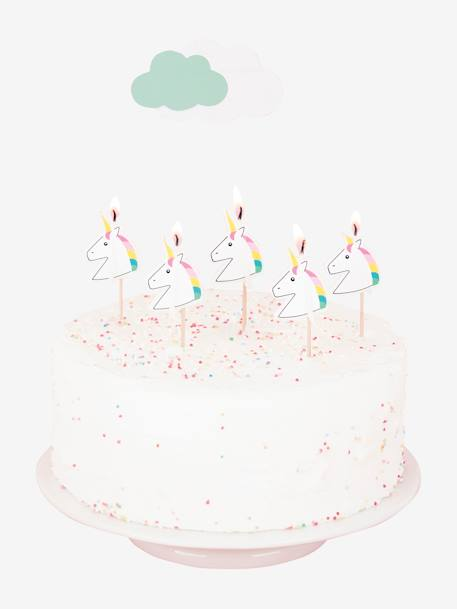 Set of 5 Birthday Candles, MY LITTLE DAY GREEN MEDIUM ALL OVER PRINTED+WHITE BRIGHT ALL OVER PRINTED+YELLOW MEDIUM ALL OVER PRINTED