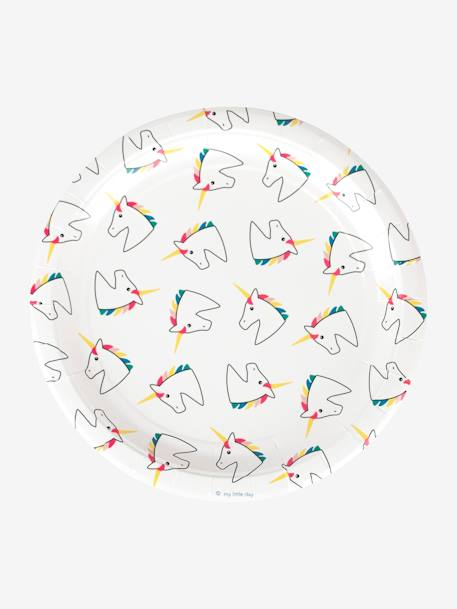 Set of 8 Paper Plates, MY LITTLE DAY WHITE BRIGHT ALL OVER PRINTED+WHITE MEDIUM ALL OVER PRINTED