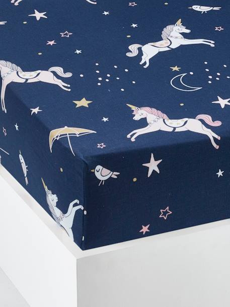 Children's Fitted Sheet, MAGIC CIRCUS Theme BLUE DARK ALL OVER PRINTED