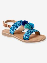 Shoes-Leather Sandals with Pompons for Girls