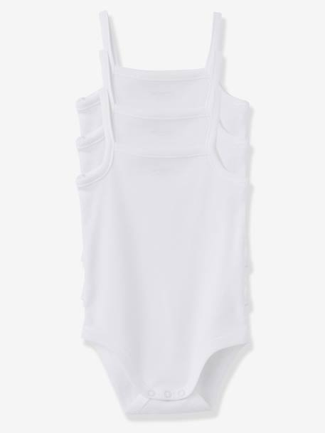 Pack of 3 White Bodysuits with Shoestring Straps White pack