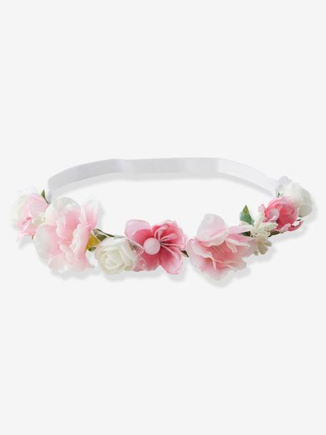 Alice Band with Flowers, for Baby Girls PINK LIGHT SOLID+WHITE LIGHT SOLID
