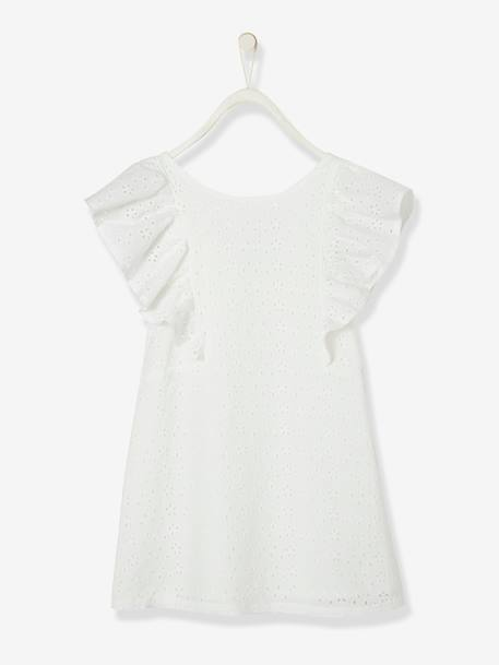 Dress in Broderie Anglaise, for Girls WHITE LIGHT SOLID+YELLOW DARK SOLID