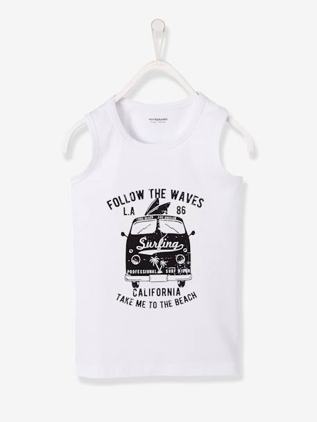 Magic Tank Top, for Boys WHITE LIGHT SOLID WITH DESIGN