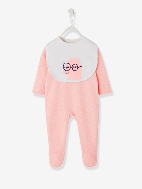 Cotton Sleepsuit, Back with Press Studs + Bib for Babies PINK LIGHT ALL OVER PRINTED