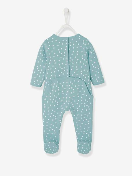 Cotton Sleepsuit, Back with Press Studs + Bib for Babies BLUE LIGHT ALL OVER PRINTED+PINK LIGHT ALL OVER PRINTED