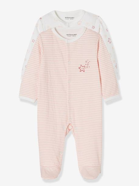 Pack of 2 Sleepsuits for Newborns, Seaside PINK LIGHT 2 COLOR/MULTICOL R
