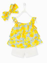 Baby-Outfits-3-Piece Ensemble for Baby Girls, Blouse + Shorts + Headband